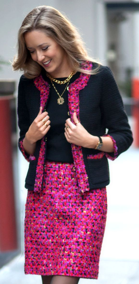 The Classy Cubicle: Holiday Brights {kate spade, asos, tweed skirt suit, fuchsia, red, orange, office style, work wear}