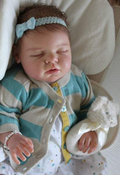 "CUSTOM Reborn Newborn Baby Girl Doll Noah By Reva Schick - Custom Reborn Baby From the ""Noah Asleep"" sculpt by the very talented Reva SchickApproximately 20"" long with 3/4 vinyl arms and full vinyl legsCustomer can choose:-Baby's gender-Hair color-Hair style-any birth marks-optional m..."