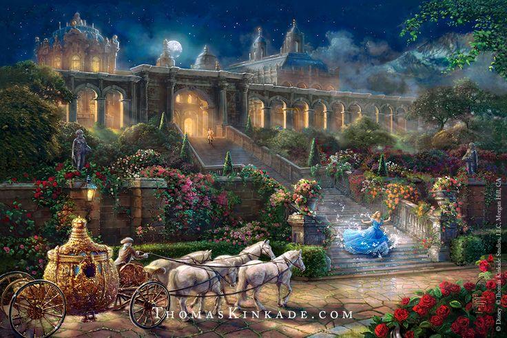 "Thomas Kinkade Studios Release, ""Clock Strikes Midnight"". Inspired by Disney's live action movie, ""Cinderella"""
