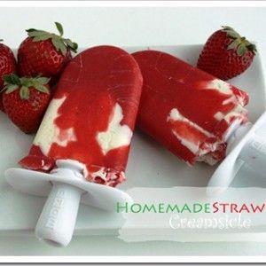 Homemade Strawberry Creamsicles