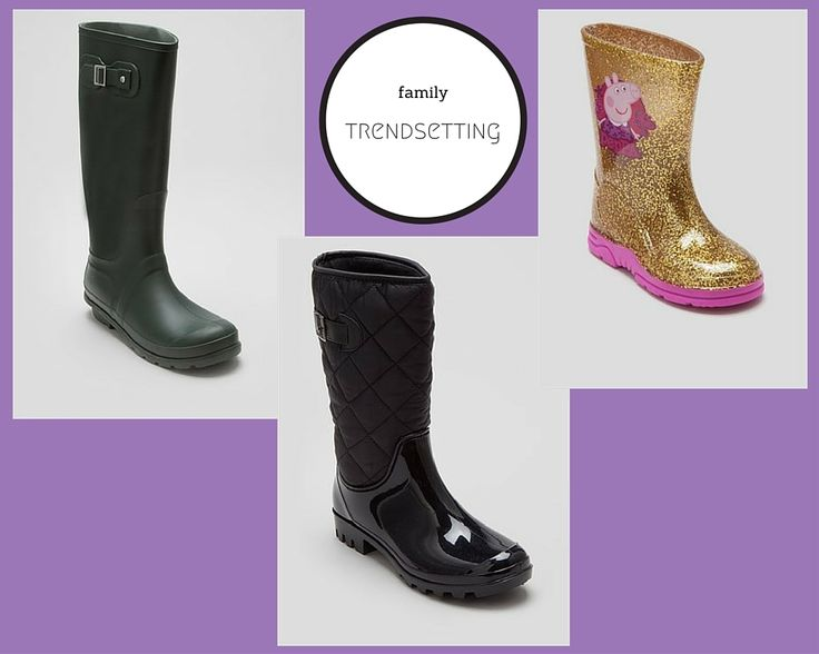 a british holiday staple: mum, dad and little miss welly boots! All from matalan. Mens traditional in bgree, mums are quilted and little miss's are gold glitter with peppa pig. More details here: http://www.lifeonvista.com/2015/10/essentials-for-autumn-half-term-uk-holidays.html
