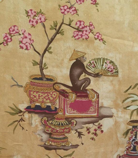 Pagoda Monkey Asian Fabric  Upholstery Fabric by by ShopMyFabrics