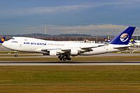 Air Atlanta Icelandic Boeing 747-412F TF-AMQ aircraft, on short finals to Germany Munich International Airport. 18/11/2016.