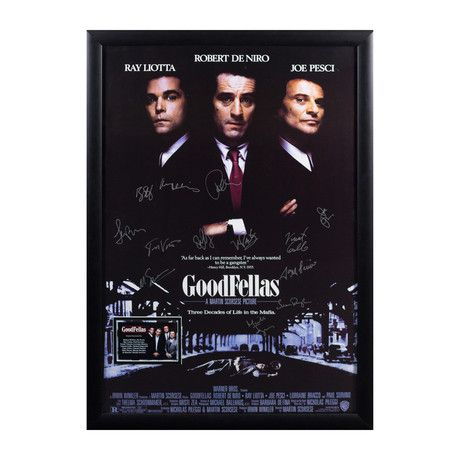 This Goodfellas signed movie poster pays homage to the 1990 cinematic masterpiece, telling the epic story of gangster Henry Hill. Signed by Robert DeNiro, Joe Pesci, Ray Liotta, Paul Sorvino, Frank Vincent, Lorraine Bracco, Debi Mazar, Samuel L. J...