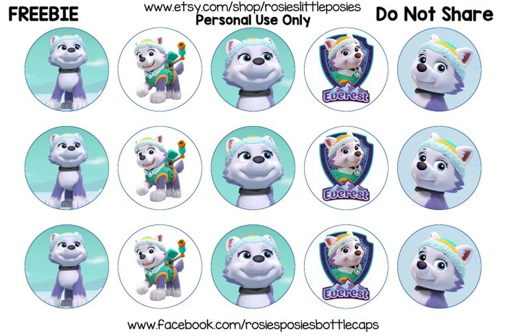 Free Bottle Cap Images, Paw Patrol Everest freebie printable. Birthday Click to save full size image.