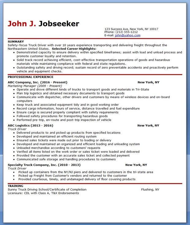 job description truck driver