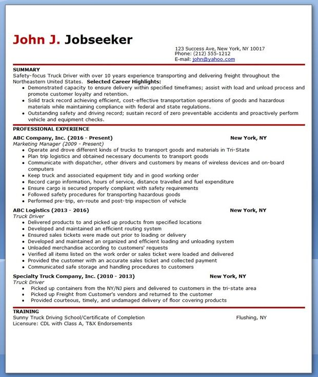 truck driver resume sle career