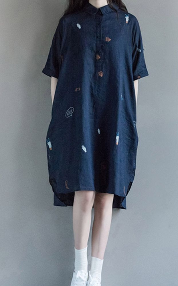 Women loose fit over plus size linen cute pattern blue tunic dress skirt chic #Unbranded #dress #Casual