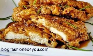 Crunchy chicken with honey garlic sauce