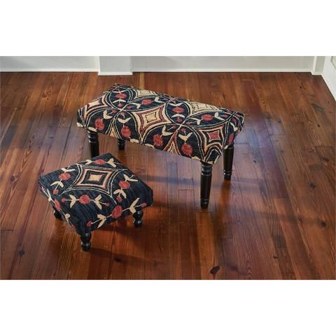 Navy Blue & Black Fabric Foot Stool or Bench