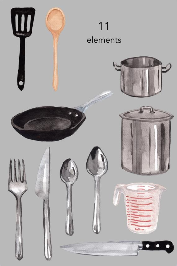 Watercolor Clipart Cooking Supplies Kitchen Food Household