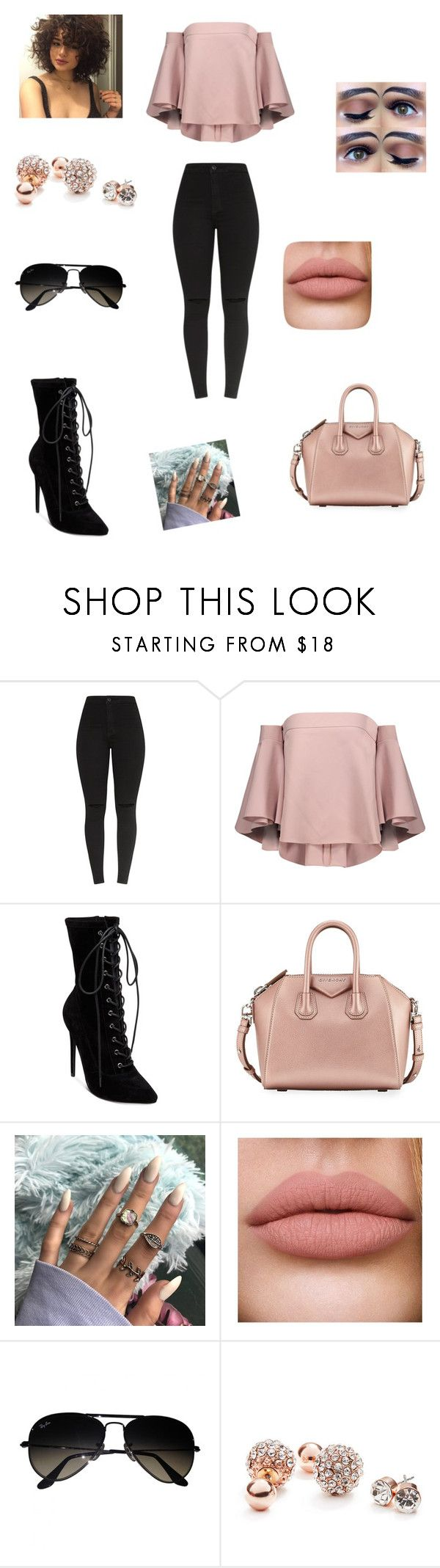 """Outfit #310"" by anadina ❤ liked on Polyvore featuring Milly, Steve Madden, Givenchy, Ray-Ban and GUESS"