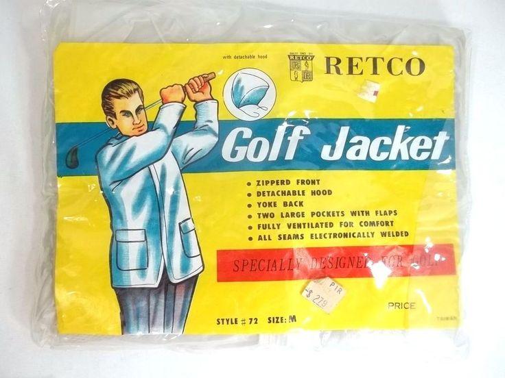 Vintage Golf Jacket Rain Retco Zip Front Detachable Hood Clear XL #Retco #BasicJacket