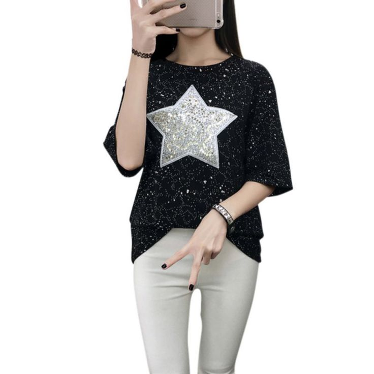 >> Click to Buy << Summer Ladies T-Shirt Fashion Sequined Shiny Star Patterns Short Sleeve Loose Tee Shirt  Hot Selling #Affiliate