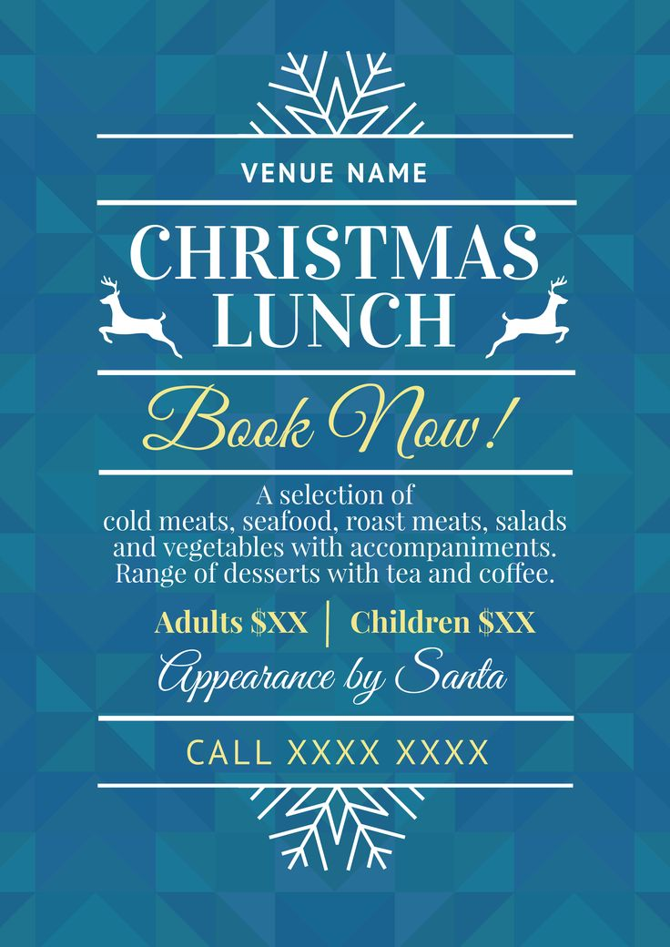 Use this Christmas Lunch promotional template for your event this year! Use this existing template or customise as much as you like. Visit easil.com to get started!