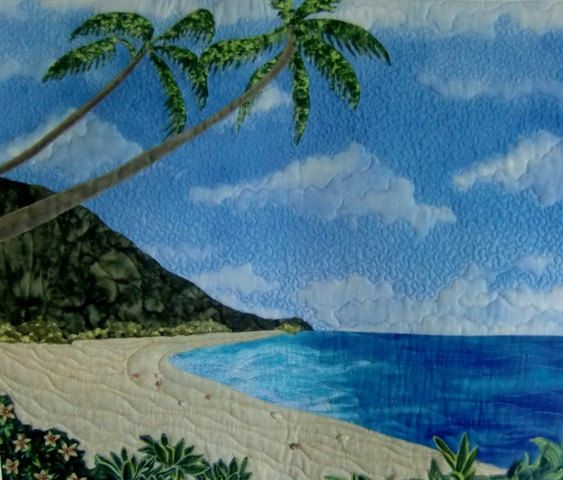 Hawaiian Tropical Landscape Seascape Textile by KoloaQuiltsandMore, Tie Winner For JANUARY 2014! Congratulations Karen!