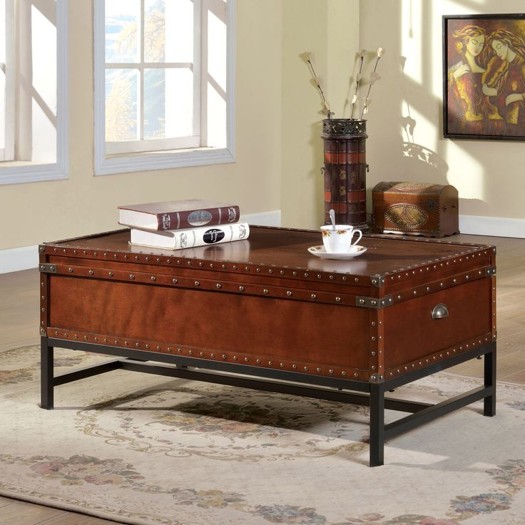 Furniture Of America Dravens Industrial Trunk Style Coffee Table    Overstock™ Shopping   Great Deals