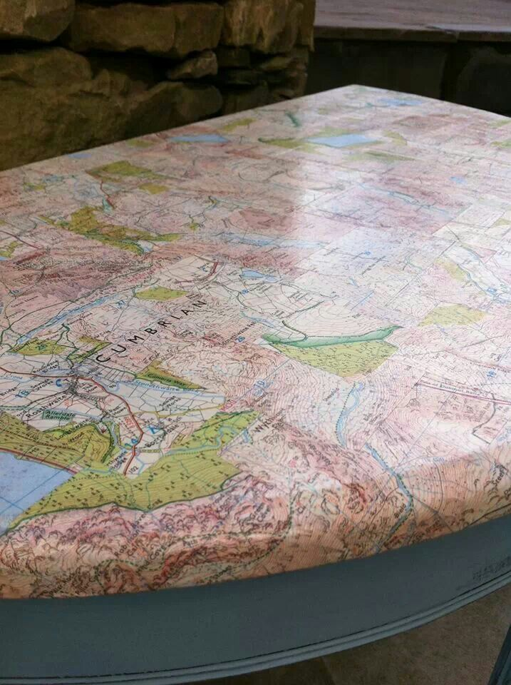 Half Moon Table, Decoupaged With Maps From Hello Home