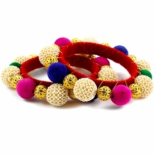 Pink with gold color silk thread bangles set - 84 Best Ghungroo And Beads Bangles Images On Pinterest