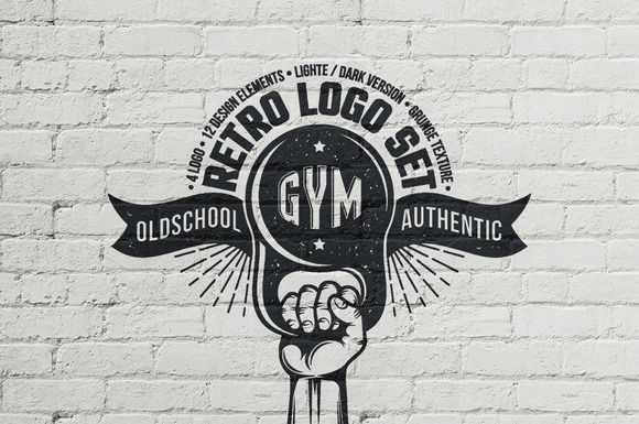Gym retro logo by DreamBikeShop on @creativemarket