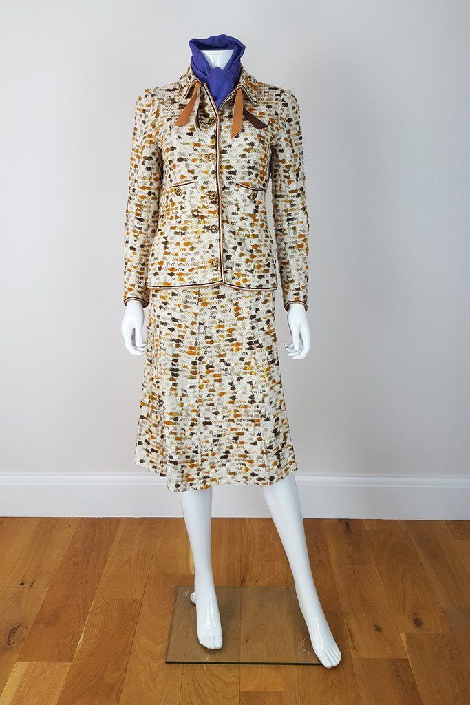CHANEL Vintage Multi-coloured Wool Waffle Two Piece Skirt Suit