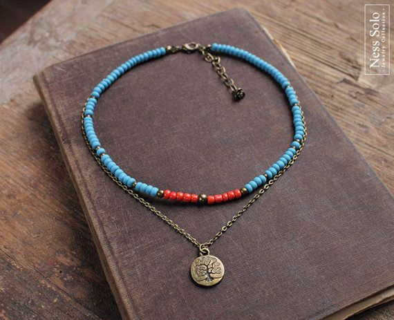 Short layered boho necklace - a beaded choker necklace with blue and coral red glass beads and a tree of life charm on a chain. The necklace measures 14-16 inches (14 + 2 inch extension chain) = 35-40 cm (35 cm + 5 cm extension chain). ♥ - ♥ - ♥ - ♥ - ♥ - ♥ - ♥ - ♥ - ♥ - ♥ - ♥ - ♥ - ♥ - ♥ - ♥ - ♥ - ♥ - ♥ - ♥ - ♥ - ♥ - ♥ - ♥ - ♥  PAYMENT:  All major CREDIT CARDS are accepted through PayPal. You do NOT have to have a PayPal account to make a purchase.  SHIPPING:  I mail all orders within 1...