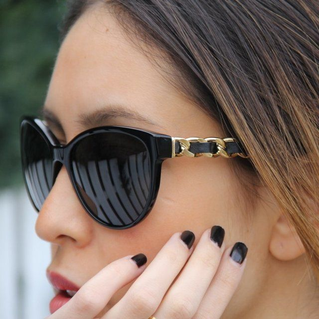Chanel.Sun: Shades, Chanel Cat Eye Sunglasses, Style, Chanel Sunny, Chanel Sunglasses Chains, Black Nails, Nails Polish, Black Gold, Cat Eye Glasses