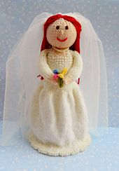 This is Beatrix the Beautiful Bride. Beatrix is a knitted bride doll and is 28cms tall. This pattern is worked flat & would suit Intermediate knitters. http://www.ravelry.com/patterns/library/beatrix---the-beautiful-bride-doll