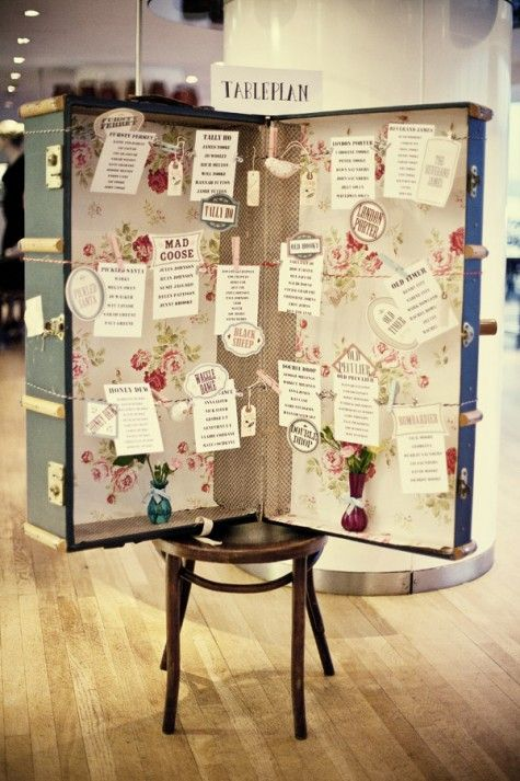 Here is a quirky idea for a seating plan. It is easy to create if you have an old suitcase, some ribbon and wooden pegs.