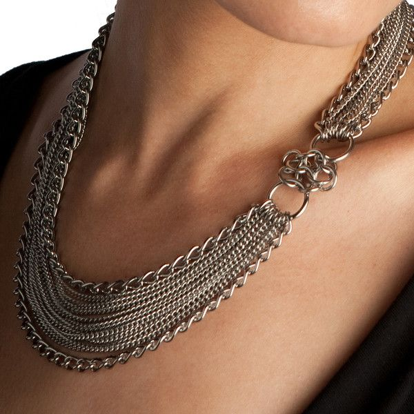 Rapt In Maille | Handmade Chainmaille Jewelry by Melissa Banks | Stainless Steel | Chicago — GLAM Asymmetrical Rosette Necklace