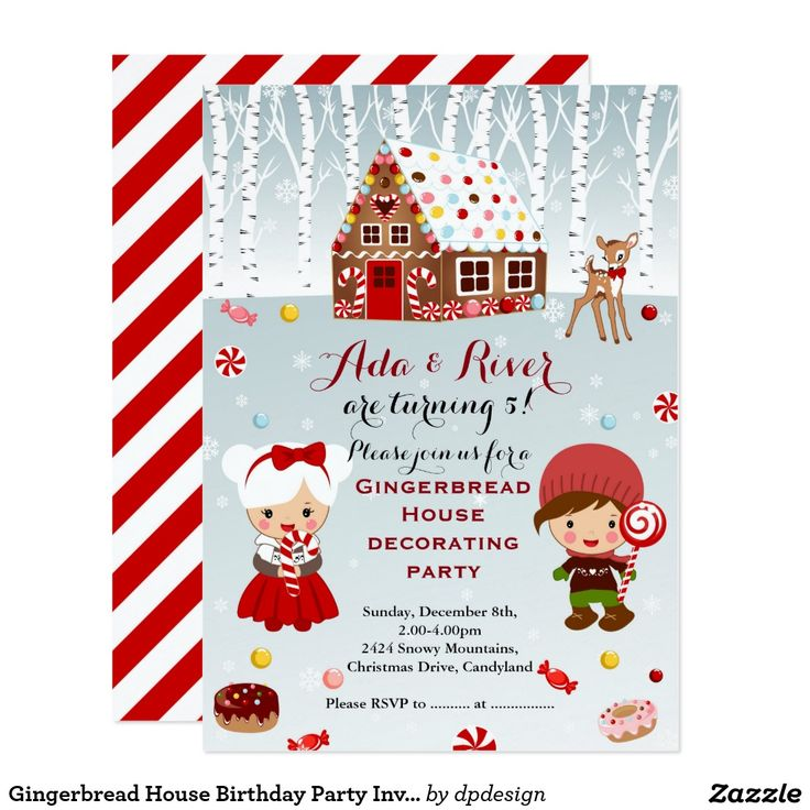 967 best christmas party invitations images on pinterest gingerbread house birthday party invitation stopboris Image collections