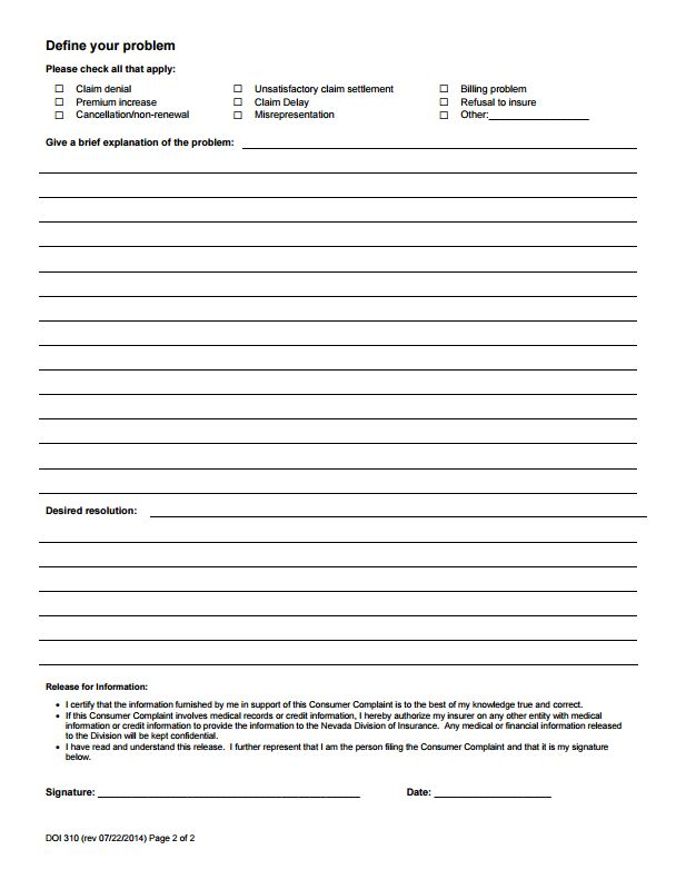 112 best Commissioners Complaint Form By State images on Pinterest - insurance release form
