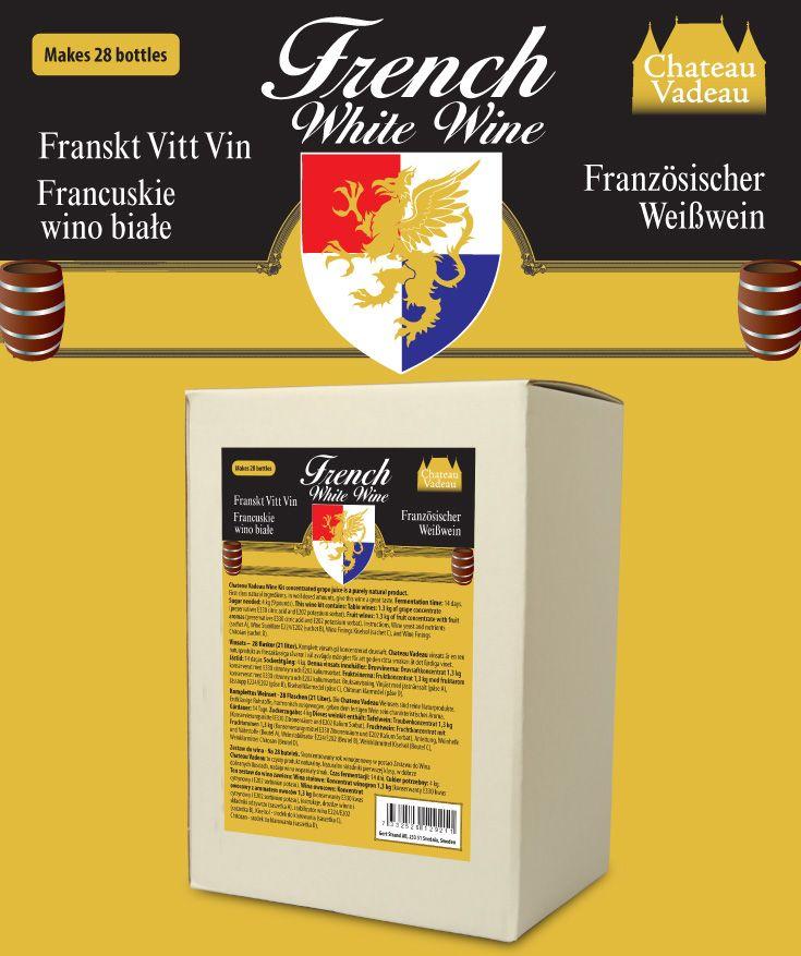 Chateau Vadeau Franskt vitt vin vinsats. Ger 21 liter - 28 flaskor a 75 cl - lättdrucket bordvin. Tillsätt vatten och 4 kg socker. Alla andra ingredienser medföljer.