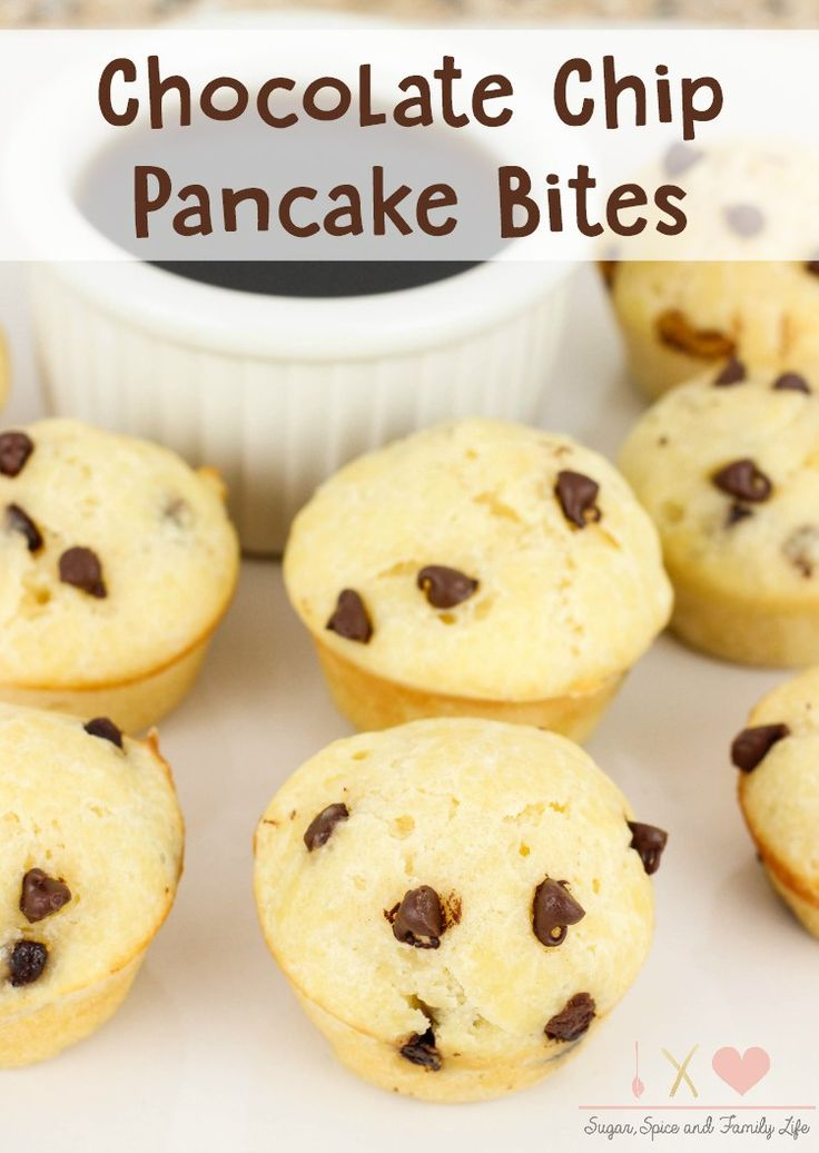 Chocolate Chip Pancake Bites are an easy family breakfast. This kid friendly breakfast is even fun for the kids by having to dip each mini pancake into their favorite maple syrup. - Chocolate Chip Pancake Bites Recipe from Sugar, Spice and Family Life #pancakes #chocolatechip #breakfast #kidfriendly