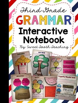 Interactive notebooks are a great learning tool in the classroom! This resource can be used as a way of keeping notes, references, skill review activities, or even as assessments! Interactive notebooks make learning meaningful, visual, and fun for our kiddos.This resource includes all of the Third Grade COMMON CORE grammar/language standards.  (May also be used for the majority of 4th grade standards)  **Click PREVIEW for a closer look inside!**  Includes: *Cover pages*Photo Samples of…