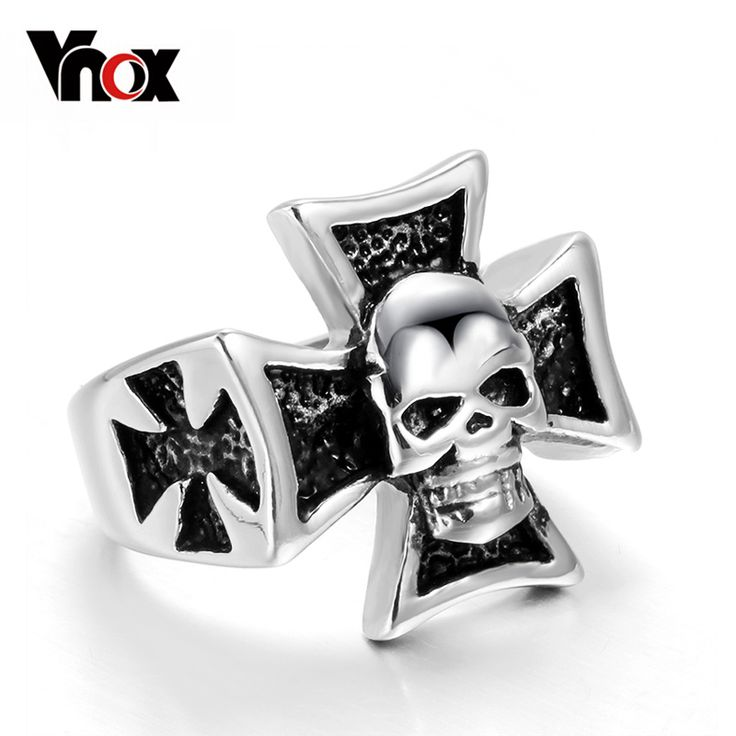 Vnox Big Black Skull Men Ring Stainless Steel Gothic Men Ring Jewelry