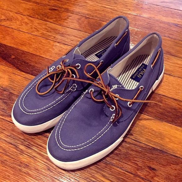 Shop Men's Polo by Ralph Lauren Blue White size 11.5 Boat Shoes at a discounted price at Poshmark. Description: Blue canvas boat shoes by Polo by Ralph Lauren Worn twice so they really only show evidence of wear on the soles. Size: 11.5. Sold by jpl1591. Fast delivery, full service customer support.