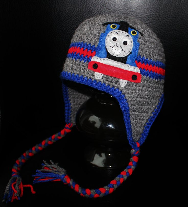 Thomas Train Earflap Beanie Hat - Grey, Blue and Red Felt Appliqued Crochet Hat. $30.00, via Etsy.