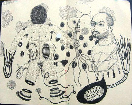 Artista: Ricardo Muñoz Izquierdo, Libreta dibujos 9, dibujos en hoja de libreta, 16x16 cm, + PA.  Artist: Ricardo Muñoz Izquierdo, Book 9 drawings , drawings on notebook sheet , 16x16 cm, + PA.