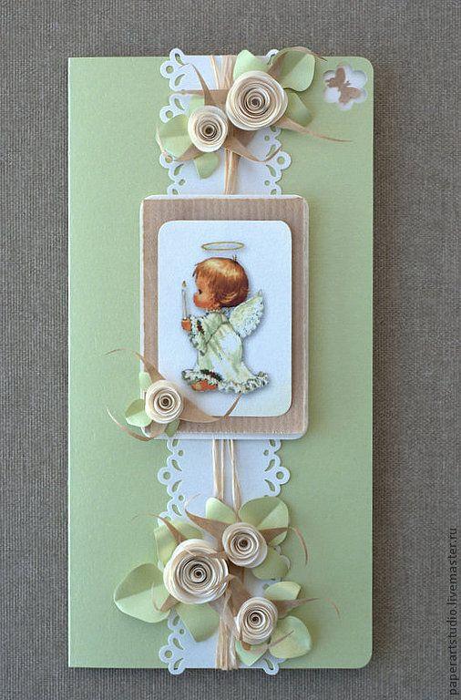 """Купить Открытка """"Маленький ангел"""" - салатовый, открыточка на крестины, открытка детская, открытка на день ангела"""