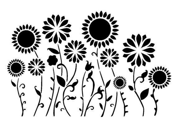 5.8/8.3 Flower border or background stencil. A5. por LoveStencil