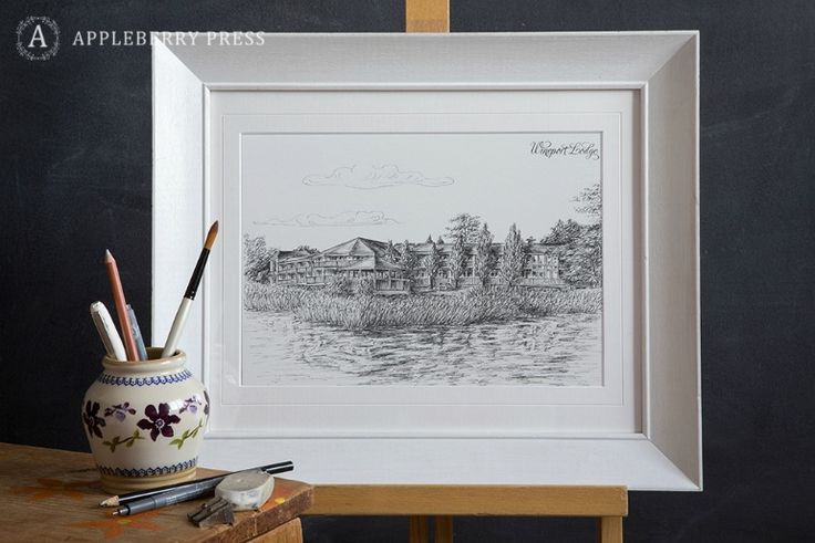 Pen sketch of idyllic lakeside set wedding venue in Athlone, County Westmeath