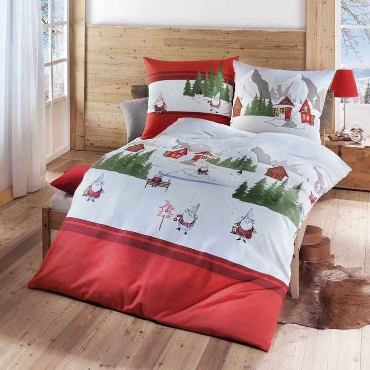 Kaeppel Biber Bettwäsche Wichtel in angerauter Baumwolle. Die niedlichen Wichtel sorgen inmitten der schneebedeckten Bergwelt für einen Hingucker. Ein angenehm warmes Gefühl, in den kühlen Nächten, ist mit der flauschigen Winterbettwäsche garantiert.  #bettwäsche #bedding #schnee #snow #nikolaus #weihnachtsmann #wichtel #berge #biber #mountains #bedroom #schlafzimmer #schlafen #sleep  www.bettwaren-shop.de
