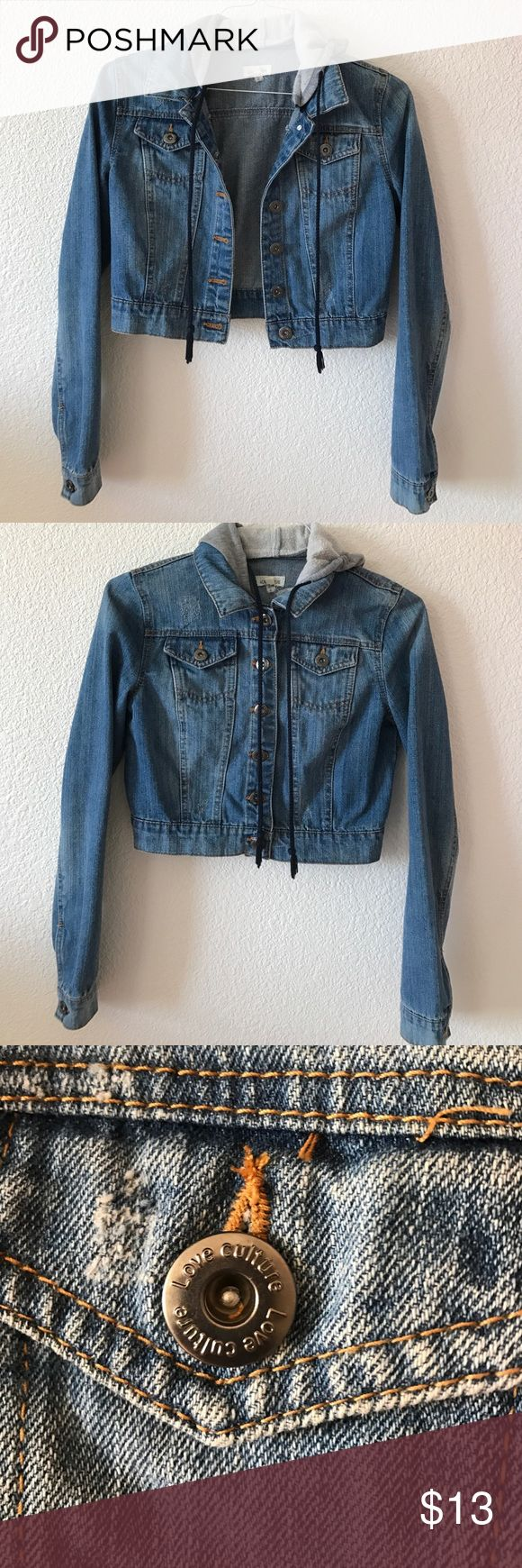 """Hooded Jean Jacket """"Crop top"""" Jacket • Light gray hood with navy blue strings • Has the """"scuff"""" look, shown mainly on the back and some on the front • Dark silver buttons Love Culture Jackets & Coats Jean Jackets"""