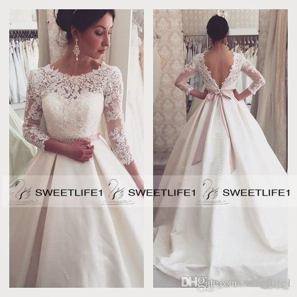 Wholesale corset wedding dresses, couture wedding dresses and destination wedding dresses on DHgate.com are fashion and cheap. The well-made  vintage lace a line 2016 wedding dresses with jewel neck sweet appliques sheer 3/4 long sleeves bridal gowns backless ruffles plus size sold by sweetlife1 is waiting for your attention.