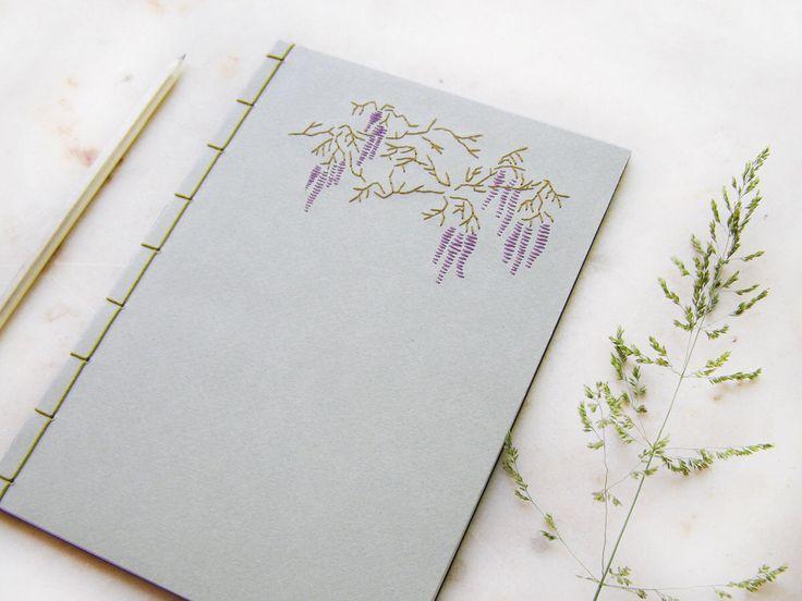 Perfect Glyzinien Bestickte Notebook A Notizbuch Botanische Zeitschrift Lila Bl te Journal