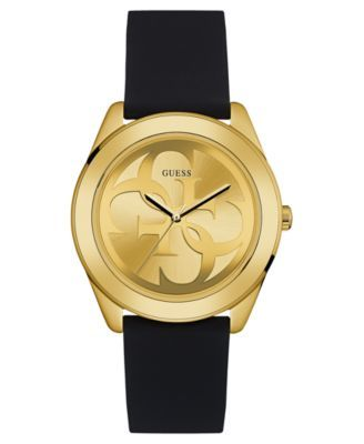 GUESS Women's Logo Black Silicone Strap Watch 38mm $95.00 Gold-tone interlocking G's span a shining champagne dial paired with a black silicone strap on this Logo collection watch by GUESS.