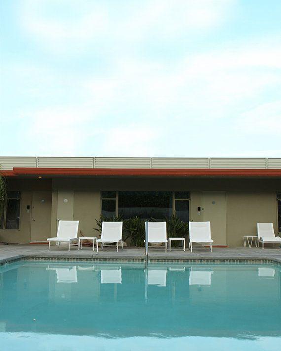 Summer Swim Pool  Mid Century Modern Architectural Landscape 11x14 OR 10x10 on Etsy, $30.00