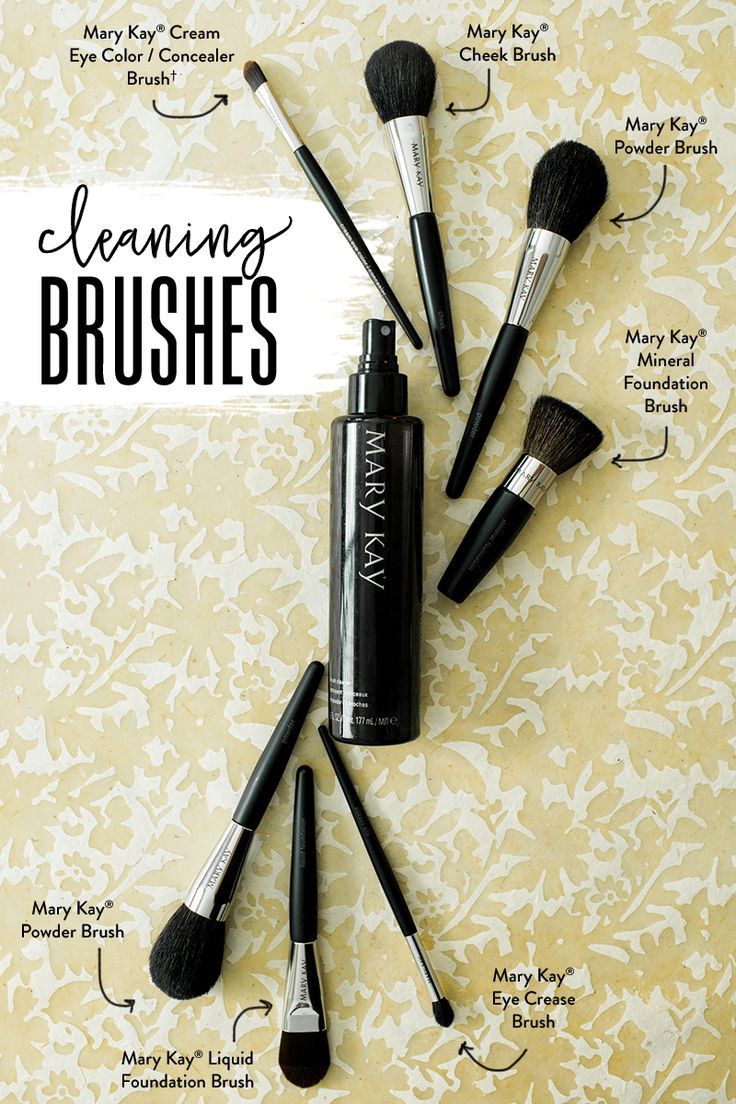 Is cleaning your makeup brushes part of your beauty routine? Mary Kay® Brush Cleaner makes it easy. 1. Spray brush cleaner directly onto brush hairs until thoroughly dampened. 2. Gently sweep brush over tissue to remove excess moisture and to wipe away makeup residue and color. 3. Reshape brush hairs with a clean tissue, lay flat and allow to air dry before using.