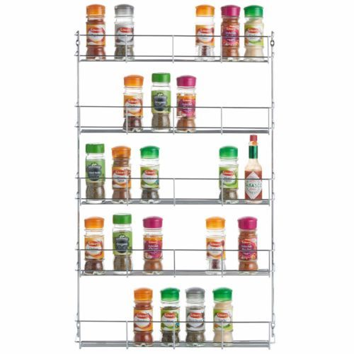 VonShef 5 Tier Wall Mounted or Cupboard Chrome Plated Sturdy Herb Spice Rack
